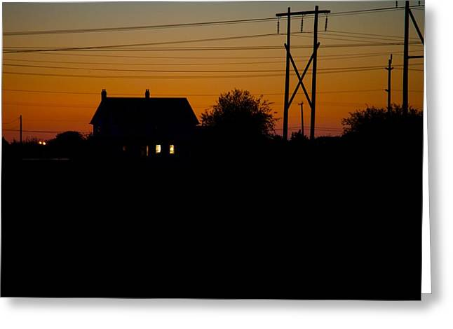 House At Sunset Greeting Card by Paul Kloschinsky