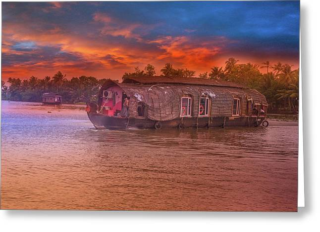 House Boat Greeting Card by Art Spectrum