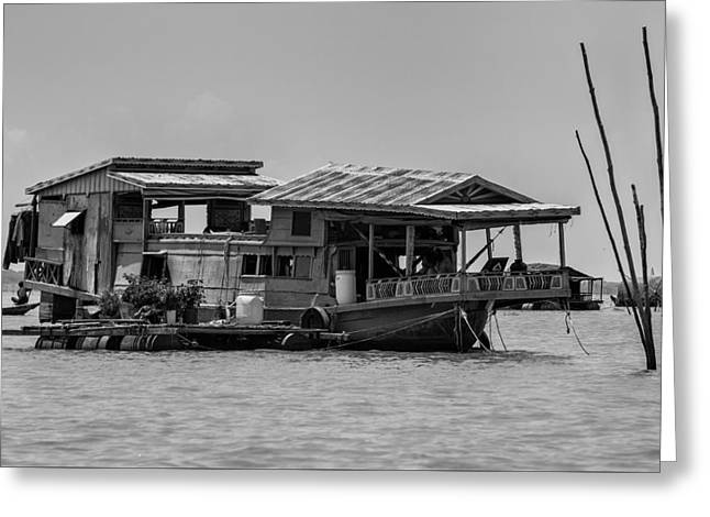 Lake House Greeting Cards - House Boat in Asia Greeting Card by Nomad Art And  Design