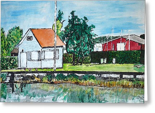 House By The Lake Greeting Card by Monica Engeler