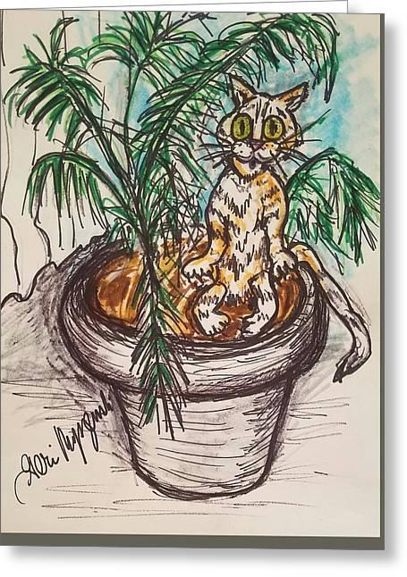 House Cat Greeting Card by Geraldine Myszenski