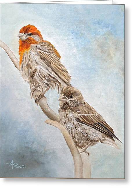 Greeting Card featuring the painting House Finch Couple by Angeles M Pomata