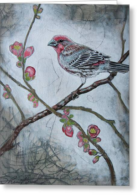 Greeting Card featuring the mixed media House Finch by Sheri Howe