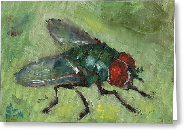 House Fly Greeting Card by Grant Lounsbury