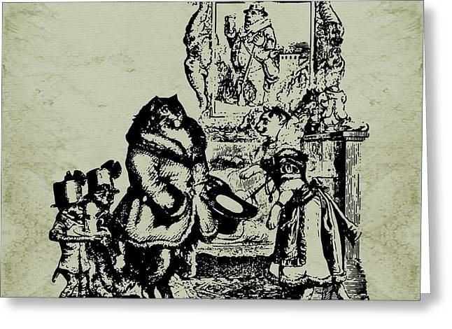 House Guest Grandville Sepia Greeting Card by Barbara St Jean
