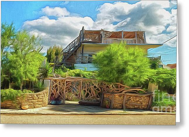 Greeting Card featuring the photograph House In Agios Georgios Corfu  by Leigh Kemp