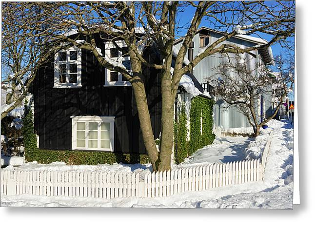 Greeting Card featuring the photograph House In Reykjavik Iceland In Winter by Matthias Hauser