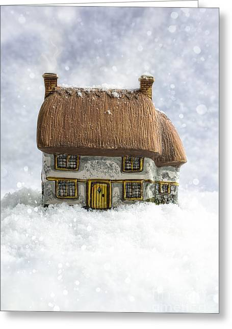 House In Snow Greeting Card