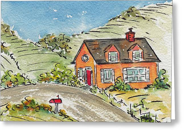 House In The Country Greeting Card by Pat Katz
