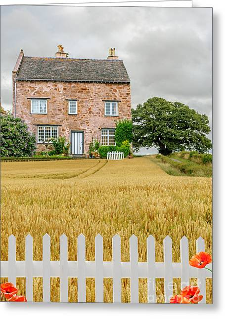 House In Wheat Field Greeting Card by Amanda Elwell