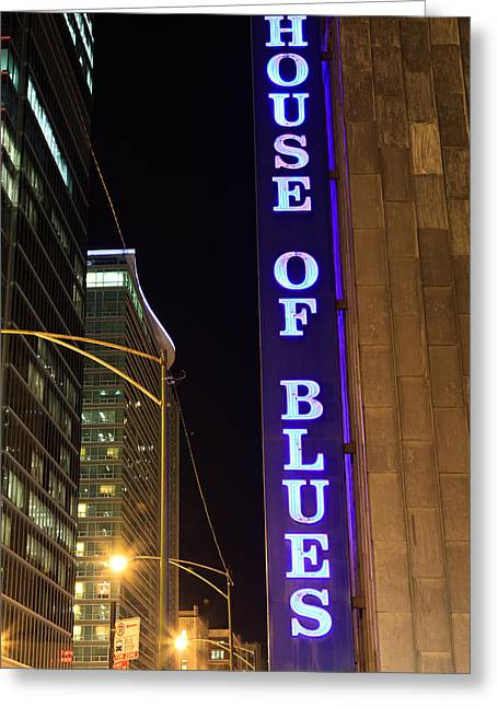 Venue Greeting Cards - House of Blues Sign in Chicago Greeting Card by Paul Velgos
