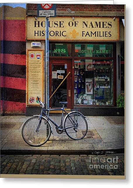 Greeting Card featuring the photograph House Of Names Bicycle by Craig J Satterlee