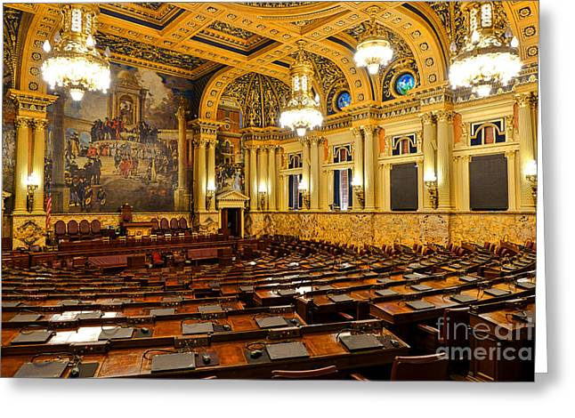 House Of Representatives Chamber In Harrisburg Pa Greeting Card by Olivier Le Queinec