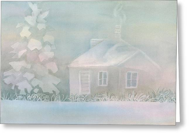 House Of Snow And Fog Greeting Card by Anne Havard