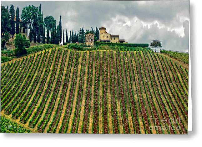 House On A Hill-tuscany Greeting Card by Jennie Breeze