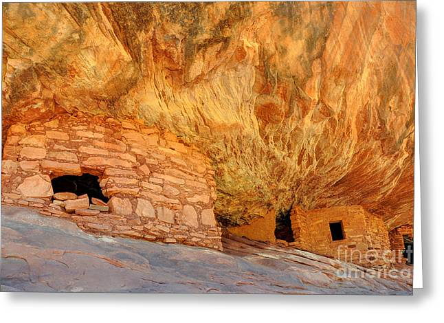 Fire Stones Greeting Cards - House on Fire Anasazi Indian Ruins Greeting Card by Gary Whitton
