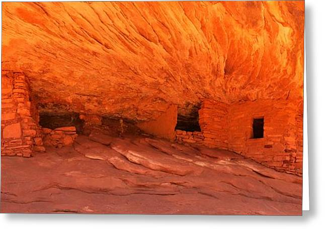 House On Fire Panoramic View Greeting Card by Adam Jewell