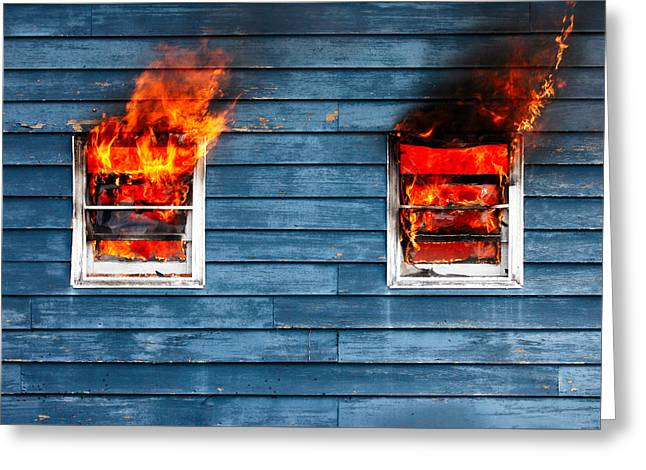 House On Fire Greeting Card by Todd Klassy