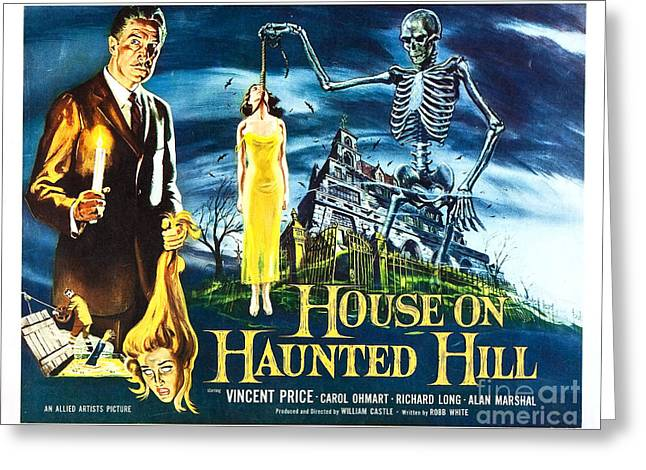House On Haunted Hill Poster Classic Horror Movie  Greeting Card