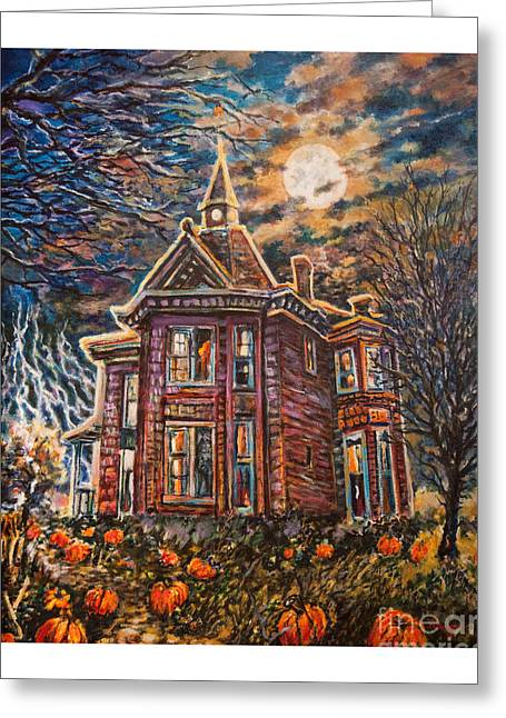 House On Pumpkin Hill Greeting Card by William Vanya