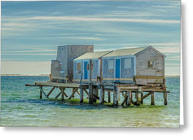 House On The Beach With Lighthouse Panorama Greeting Card