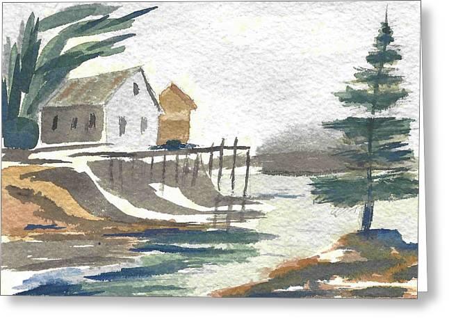 House On The Bluff Greeting Card by Carol Helene