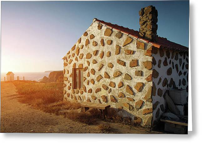 House On The Cliff Greeting Card by Carlos Caetano