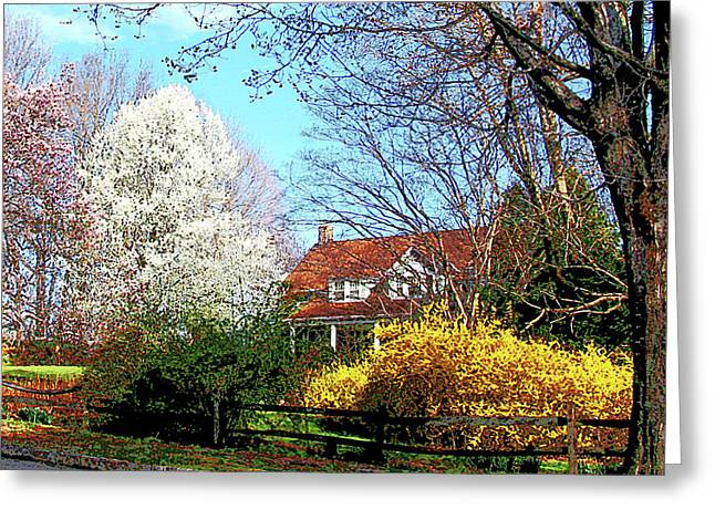 House On The Hill In Spring Greeting Card by Susan Savad