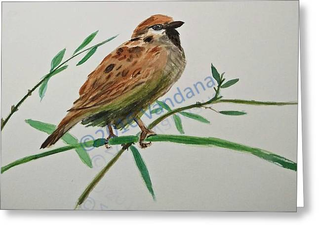 House Sparrow Greeting Card by Ranju alias Vandana Kumar