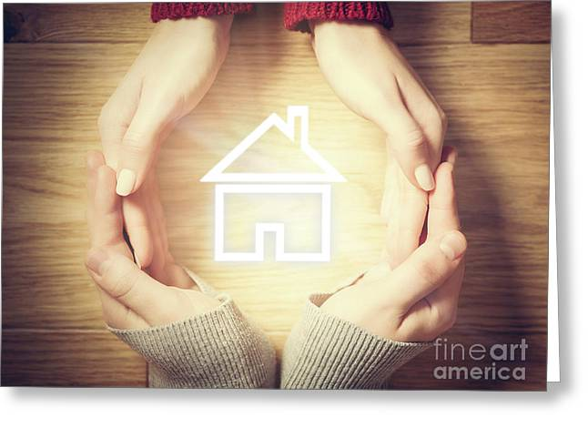 House Symbol Inside Hands Circle. Concept Of Home Insurance Greeting Card by Michal Bednarek