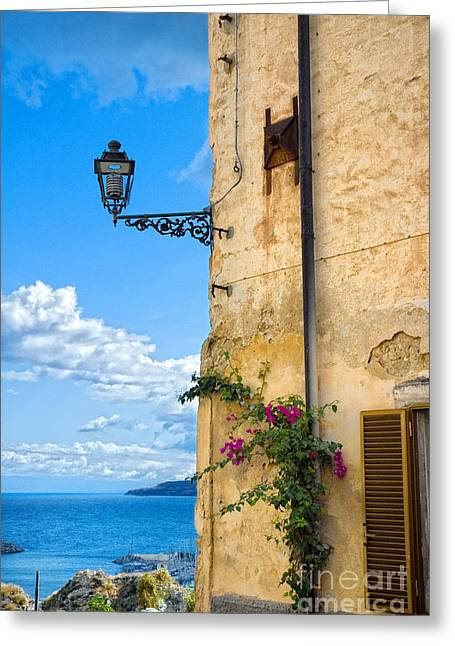 House With Bougainvillea Street Lamp And Distant Sea Greeting Card