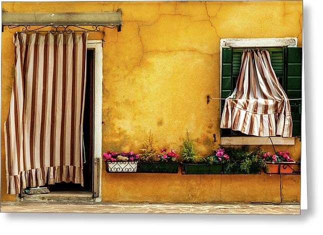 House With Drapes Burano Italy Greeting Card by Xavier Cardell