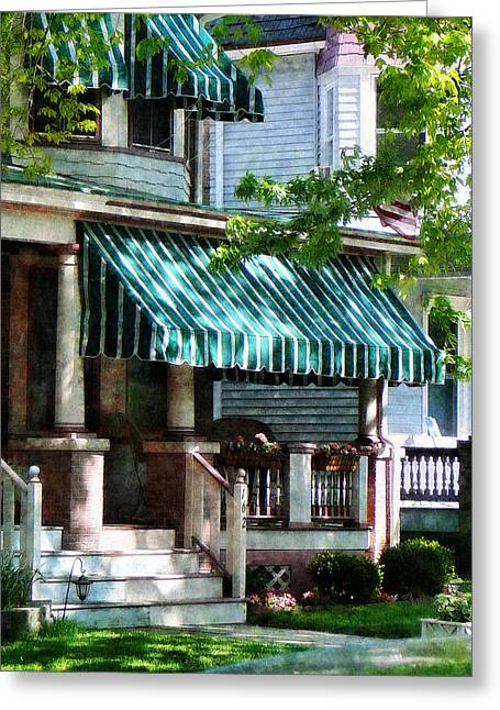 House With Green Striped Awnings Greeting Card by Susan Savad