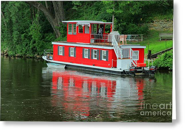 Houseboat On The Mississippi River Greeting Card by Teresa Zieba