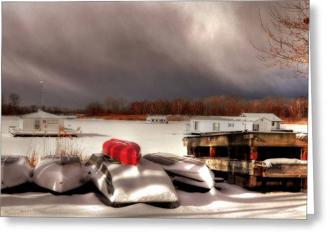 Houseboats In Winter Greeting Card by Brian Fisher