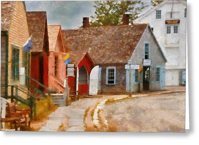 Houses - Maritime Village  Greeting Card by Mike Savad