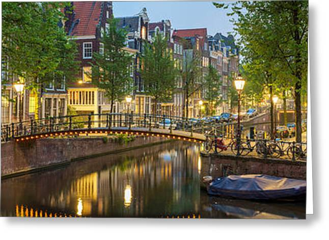 Houses Along Canal At Dusk Greeting Card