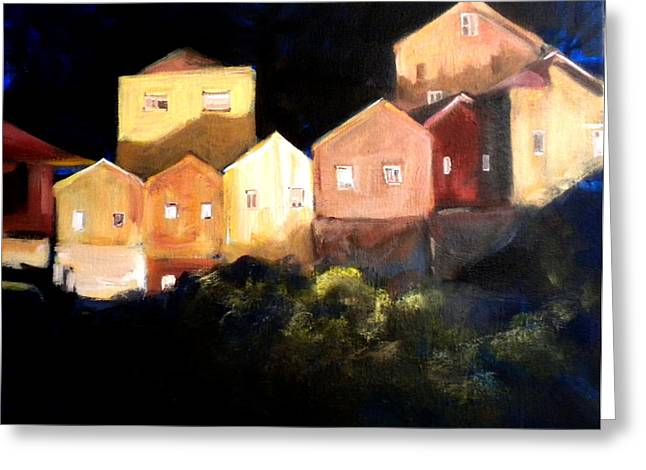 Houses At Sunset Greeting Card by Paula Strother