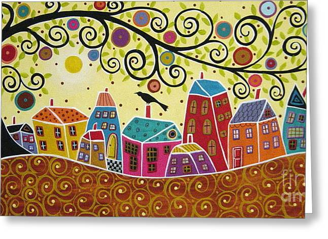 Karla G Greeting Cards - Houses Birds And A Tree Greeting Card by Karla Gerard