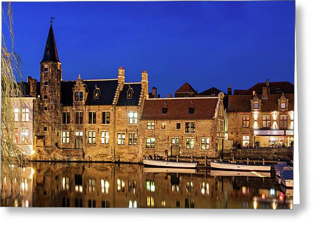 Houses By A Canal - Bruges, Belgium Greeting Card