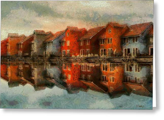 Houses By The Sea Greeting Card