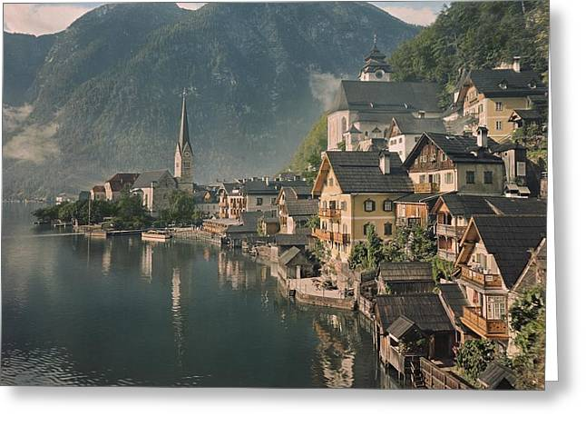 Township Greeting Cards - Houses Line The Lake Of Hallstatt Greeting Card by W. Robert Moore