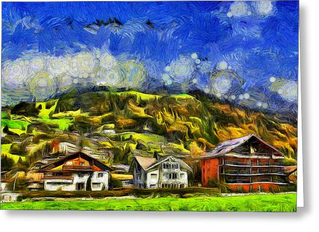 Houses On Slope And Foothills Of A Hill Greeting Card by Ashish Agarwal