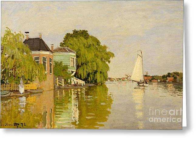 Houses On The Achterzaan, 1871  Greeting Card by Claude Monet