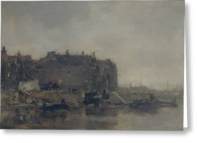 Houses On The Prins Hendrikkade In Amsterdam On A Foggy Day Greeting Card by Jacob Maris