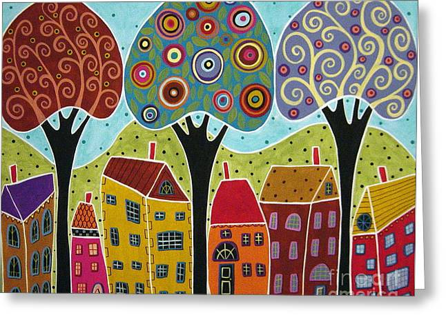 House Greeting Cards - Houses Trees Landscape Greeting Card by Karla Gerard