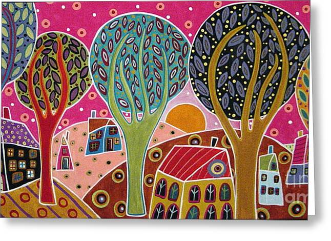 Houses Trees Whimsical Landscape Greeting Card