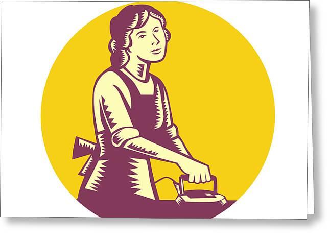 Housewife Ironing Circle Woodcut Greeting Card