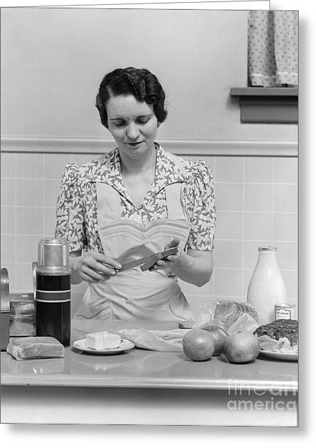 Housewife Preparing Lunch Box, C.1930s Greeting Card