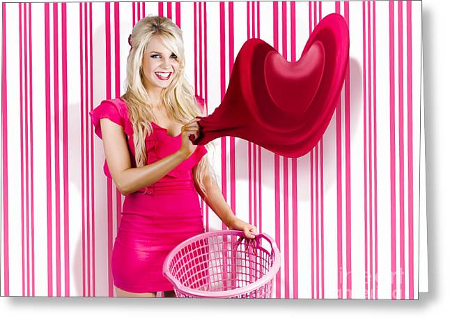Housework Love With Young Woman Washing Clothes Greeting Card by Jorgo Photography - Wall Art Gallery